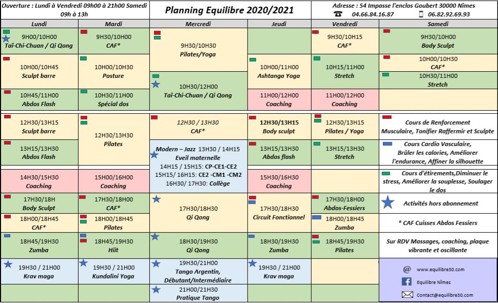 planning equilibre 2020-2021